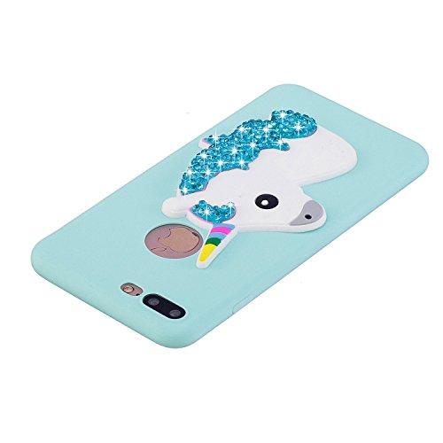 iphone 7 Plus Hülle, iphone 8 Plus Schutzhülle Unicorn, 3D Niedlichen Einfarbig Muster Design Handy Hülle für iphone 7/8 Plus (5,5 Zoll), Ultra Dünn TPU Weich Silikon Handycover Schale Schutzhülle Ult Blau