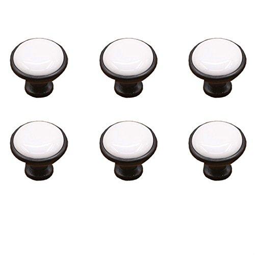 FBSHOP(TM) 6PCS Weiß Keramik Türknauf /MöbelKnopf /Möbelgriffe für Küche Schränke, Kleiderschrank, Kommode, Schublade,Schranktür Schlafzimmer und Badezimmer etc. Vintage DIY Home Deko (Türgriffe Innen In Bulk)