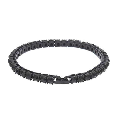 EARS Men Bracelet Series Hip Hop Herren Armband Serie Strass Armband Kette Bling Kristall Armband (Schwarz)