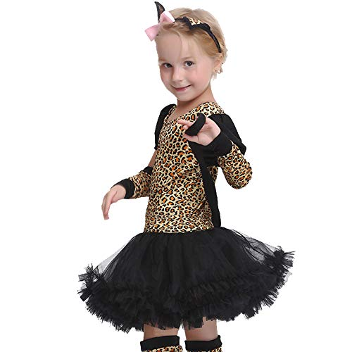 WWJIE Halloween-Kostüm für Kinder, Leopardenmuster, Cosplay