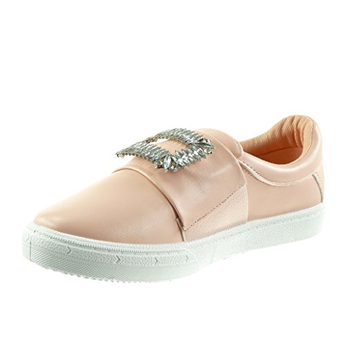 Angkorly - damen Schuhe Sneaker - Slip-On - Schmuck - Strass flache Ferse 2.5 CM Rosa