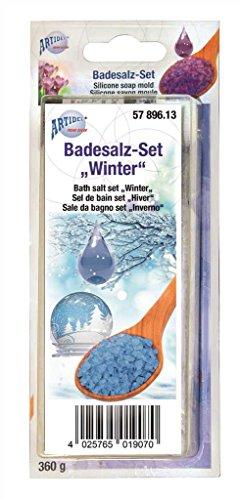CREARTEC Badesalz Set zum selber machen - Typ Winter mit Wintertraum Duft und Ultramarin Farbe - Wellness zum selber machen und verschenken - Made in Germany
