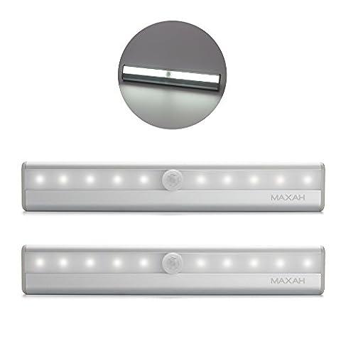 Lampe PIR Automatique MAXAH 2 lampes sans fil à LED (10) à infrarouge passif pour l'Armoire tiroir et étagères éclairé par 4 Batteries AAA veilleuse pile 26% OFF Blanc froid