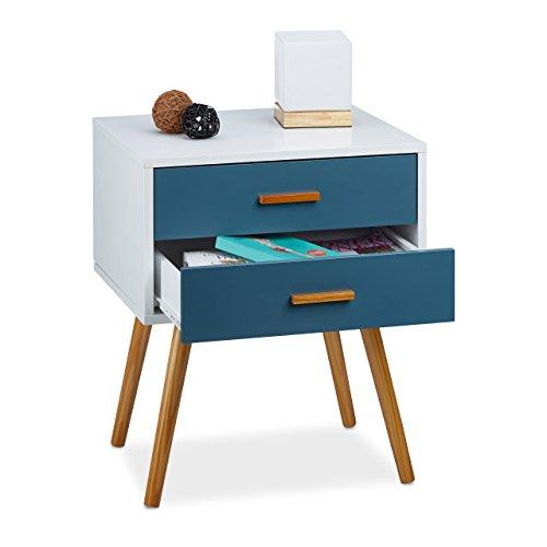 Relaxdays mobiletto salotto, comodino, design scandinavo, 2 cassetti, stile retrò hxlxp 58x41x48 cm laccato opaco, bianco-turchese