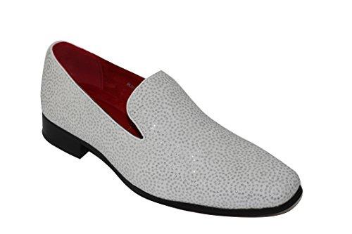 Da uomo, in pelle linea Diamante Shimmer Slip On Design Stile Funky Partito Mocassini Nero Bianco, bianco (White), 44 EU