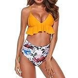 NPRADLA 2018 Bikini Damen Set Blumendruck Badeanzug Badebekleidung die Monokini gepolsterten badet(Gelb,L)