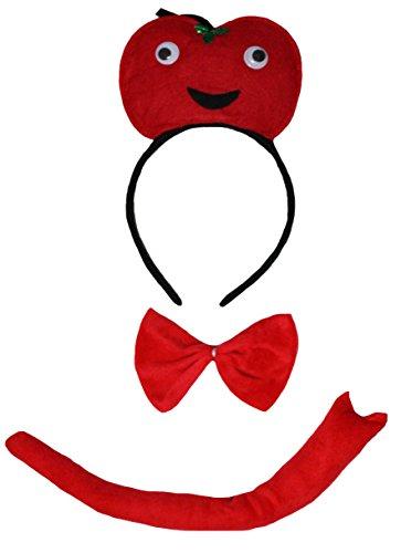 (Petitebelle 3D Obst Gemüse Stirnband Bowtie Schwanz 3pc Costume Einheitsgröße Tomate)