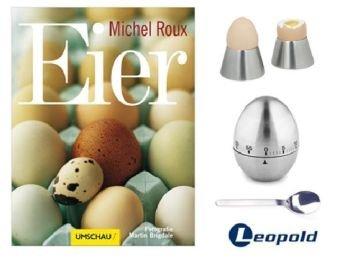 """Preisvergleich Produktbild Geschenkset Eier: Buch """"Eier"""" + 2 Eierbecher + 2 Eierlöffel + Eieruhr"""