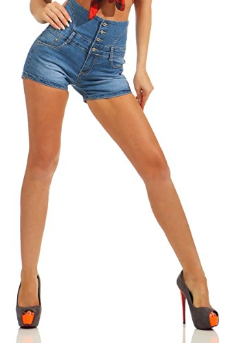 Denim-stretch-shorts (10786 Fashion4Young Damen Jeans Hotpants Denim Shorts kurze Hose Hot Pants Jeans High-Waist Stretch (blau, M-38))