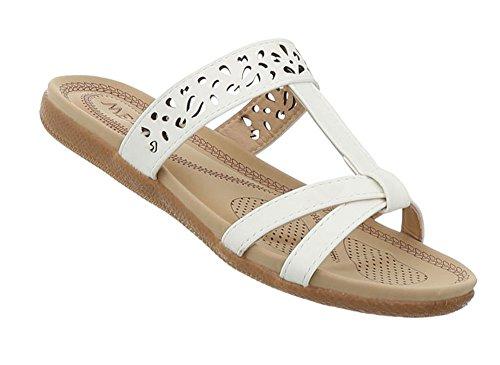 Damen Schuhe Sandaletten Pantoletten Pumps Mules Weiß 40