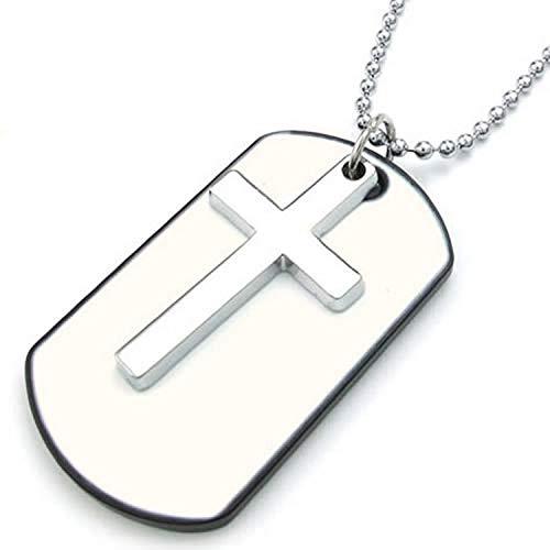 Collar con cruz de acero inoxidable y chapa estilo militar de epóxido...