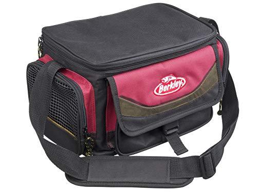 Berkley System Schultertasche mit 4 Tackle Boxen Perfekt für Angelzubehör, Köder und Mittagessen Aufbewahrung L rot/schwarz
