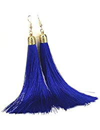 Aashya Mayro Alluring Long Dark Blue Soft Silk Thread Golden Tassel Earring For Women girls