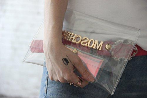 Zarapack personalizza la tua designer Clear frizione trasparente ologramma borsetta borsetta, Style 3 (Trasparente) - BA924 Style 1