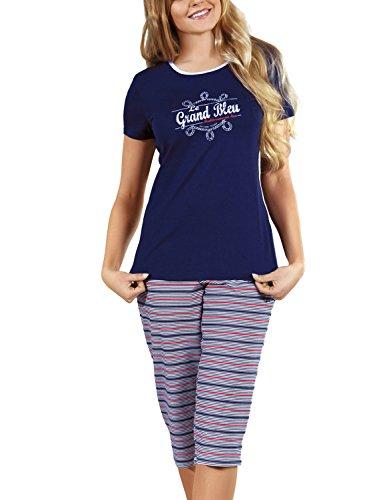 Babella 3062 Pyjama Feminin Taille Normale Top Qualité Bariolé Imprimeries Set- Fabriqué En UE Bleu Marine