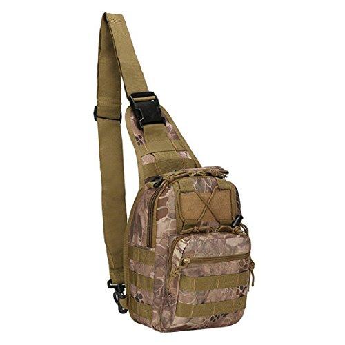 Originaltree da uomo militare petto borsa sportiva a spalla casual tela Satchel, Desert sand Blue
