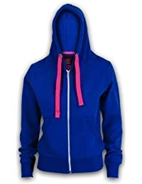 Ladies Sweatshirt Womens Girls Jacket Hoody Top Sweater Hoodie Plain Fleece Zip PLN