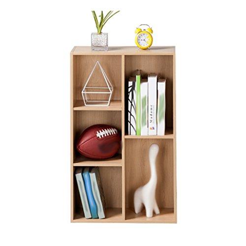 Mobile 5-regal Bücherregal (SAN QIAN WAN- Haushalt Wohnzimmer Bücherregal Lagerung Schrank Regale Rechteck Holz Schlafzimmer Schließfächer Fünf Gitter Holz Farbe Schließfächer 80x23.8x50cm Regal)
