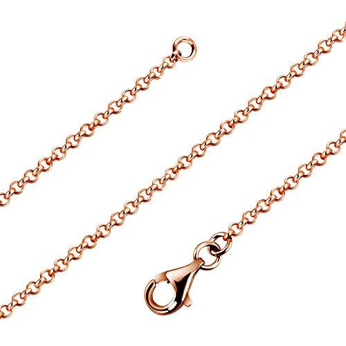 Avesano Feine Erbskette 1,7mm in 925er Sterling Silber Rose vergoldet mit Karabinerverschluss Schmuck, Damen Halskette Collier, Silberkette ohne Anhänger, Länge 42cm-90cm, 101011-442