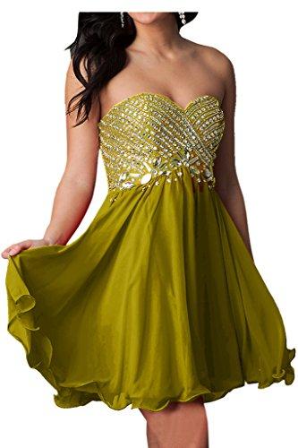 Ivydressing Damen Sweetheart Herzform Strass Festkleid Promkleid Abendkleider Gelbgruen