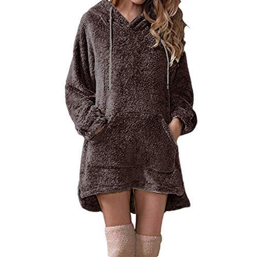 Clacce Damen Hoodie Langarm Drawstring Fleece Langarmshirt Casual Sweatshirt Farbblock T-Shirt Rundhals Blusen Top Pullover Oberteile mit Taschen Warme Oberteile