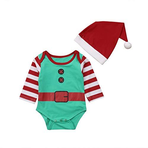 Elfen Kostüm Neugeborenen - Qinngsha Weihnachts-Kostüm für Kleinkinder, Elfen-Kostüm, langärmlig, Hose, Mütze, Warmer Winter-Body, mit modischer niedlicher Mütze Gr. 12-18 Monate, rot/grün