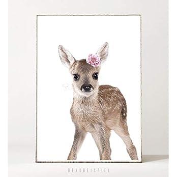 DIN A4 Kunstdruck Poster FLOWER FAWN -ungerahmt- Reh, Rehkitz, Blume, Kinderzimmer, Tier, Waldtier