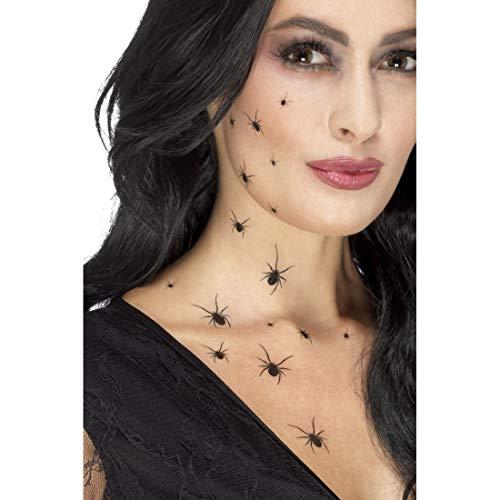 Amakando Gruselige Tattoo-Aufkleber krabbelnde Spinnen / Jeweils 16 Spinnen in schwarz / Gothic Abziehbilder Hexe / EIN Highlight zu Halloween & Karneval