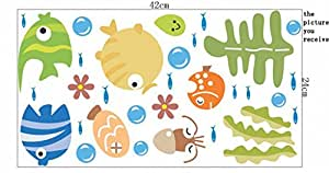 KAMAY'® s Cartoon Sticker mural pour salle de bain-Poisson bulle-Stickers décoratifs Children's LM1001 Stickers