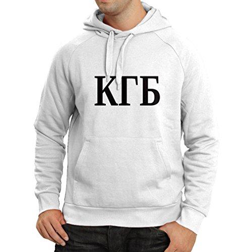 lepni.me Kapuzenpullover Politisch - KGB, UdSSR - CCCP, Russisch, Русский (XX-Large Weiß Schwarz) (Baumwolle-button Reichen)