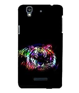 printtech Tiger Colored Streak Back Case Cover for YU Yureka Plus :: Micromax Yureka AO5510
