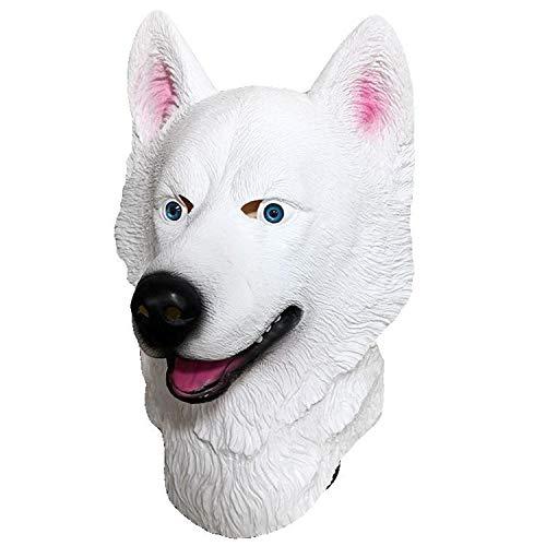 Party Story White Husky Hundekopf Maske Latex Tierkopf Maske Neuheit Schönes Kostüm Lustige Geschenke Halloween Dress Up Requisiten,White-OneSize