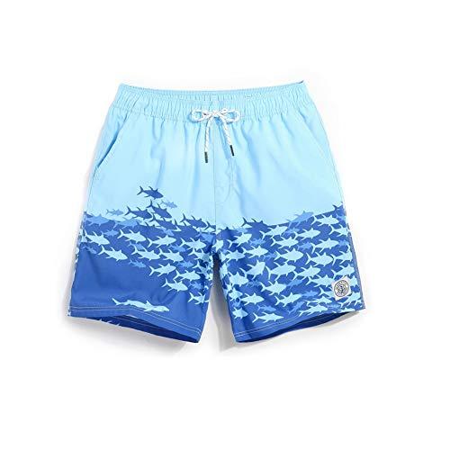 HIAO Sommer Shorts Männer Strand Polyesterfaser Sport Bequem Freizeit Urlaub Blau Meerwasser Kleiner Fisch Muster (größe : XL) -
