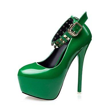 Moda Donna Sandali Sexy donna tacchi tacchi inverno / Round Toe Dress Stiletto Heel fibbia nero / verde / rosso / grigio a piedi Red
