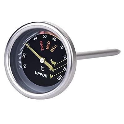 UPPOD Thermometer grillzubehör Thermostat Grill Thermometer für Smoker 8,9mm mit Rosette, Grillen, Backen