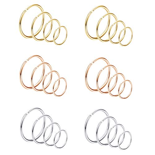 Milacolato 18-24Pcs 20G Nose Rings Hoop 316L Stainless Steel Fake Nose Ring Tragus Cartilage Helix Piercing Earring Hoops Septum Ring