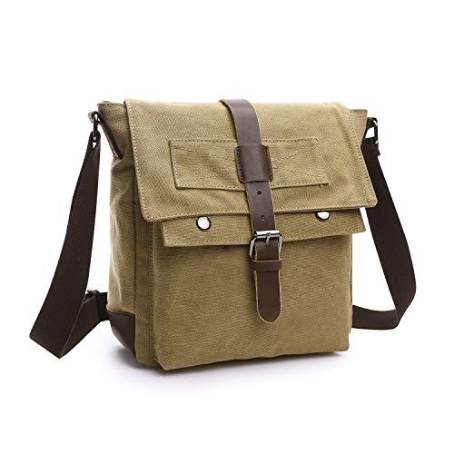 Wind Took Leinwand Messenger Bag Arbeit Umhängetasche Segeltuch Tasche Kuriertasche Herrentasche Schultertasche Collegetasche Arbeitstasche Aktentasche Laptoptasche Studententasche, Khaki