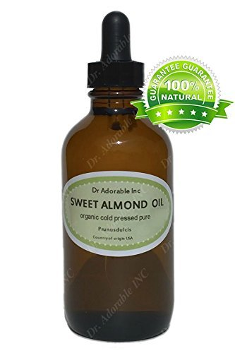 Sweet Almond Oil For Skin Hair And Health 2.2 oz Amber Glass Bottle with Glass Dropper