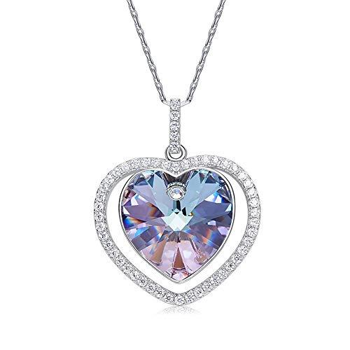 Xingling Damen-Halskette aus 925er Sterlingsilber mit lila Swarovski-Kristallen, Damenschmuckgeschenk.