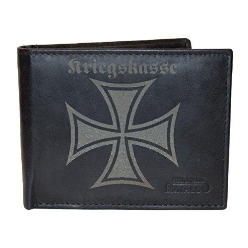 Brieftasche Kriegskasse aus Rinds Leder mit Gravur (Leder-geldbörse Mit Kreuz)