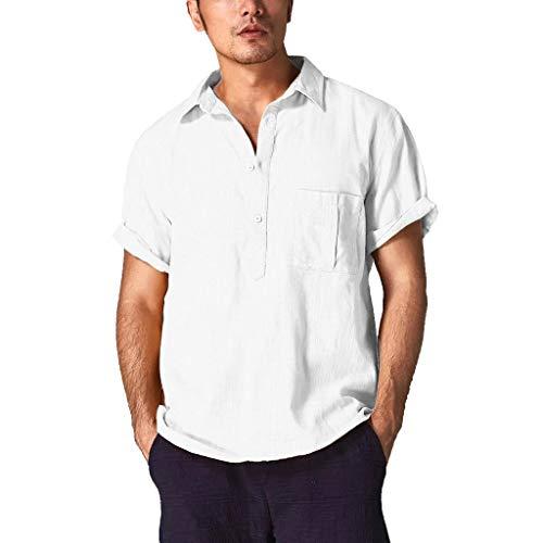 Btruely Herren T-Shirt Vintage Kurzarm Bluse Loose Fit Fitness Casual Leinen Spitze Trainingsshirt Männer Tops