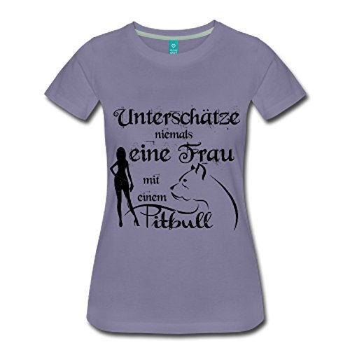 Unterschätze niemals eine Frau mit einem Pitbull Grau-Violett