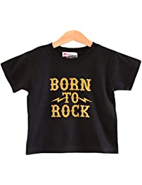 Born To Roc - Toddler and Kids T-shirt for ages 1-2 years. Kids short sleeve black rock tee with gold sparkle print