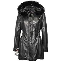 Signore LLD Nero Trench media lunghezza con cappuccio in pelliccia progettista rivestimento di cuoio del cappotto
