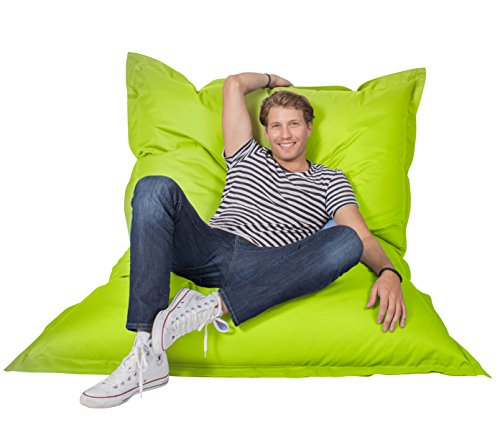 lumaland luxury riesensitzsack xxl sitzsack 380l f llung 140 x 180 cm indoor outdoor apfelgr n. Black Bedroom Furniture Sets. Home Design Ideas