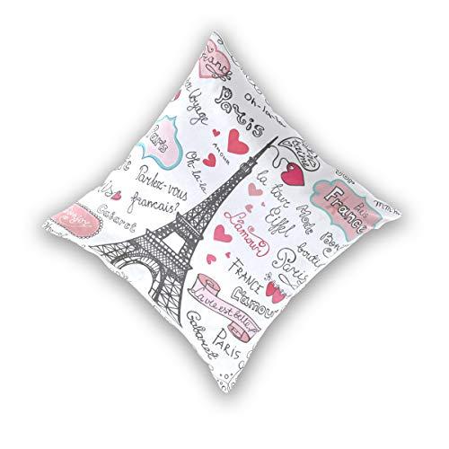 Wamika Kissenbezug mit Paris-Symbolen, Eiffelturm und Schriftzug, dekorative Baumwollleinen, 40,6 x 40,6 cm, 2 Stück, Baumwolle, Multi, 16x16