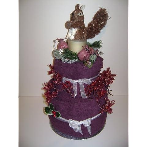 Pisos de lujo de la boda/ocasión especial Otoño/invierno toalla de la torta del cesto regalo con toallas de color granate y flores de cristal **HERMOSO REGALO DE BODA** Regalo único Babysfirstnight.