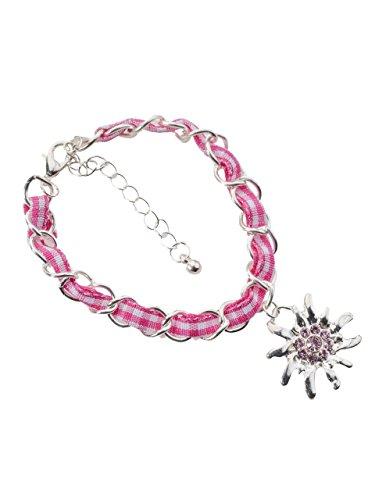 Schöneberger Trachten Couture Trachtenarmband Edelweiss Gliederkette Klassik - elegante und traditionelle Gliederkette/Armband für Dirndl und Lederhose (pink/weiss)