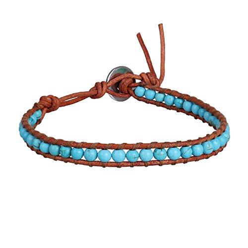 KELITCH Blau Türkis Perlen Braun Leder Sommer Sport Wickelarmband Armbänder