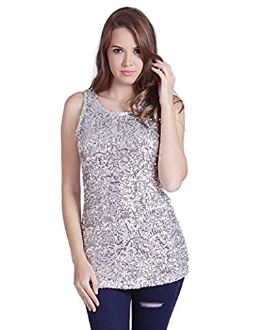 HDE Women's Shiny Sequin Tank Top Embellished Sparkly Sleeveless Party Shirt (Silver, Large)